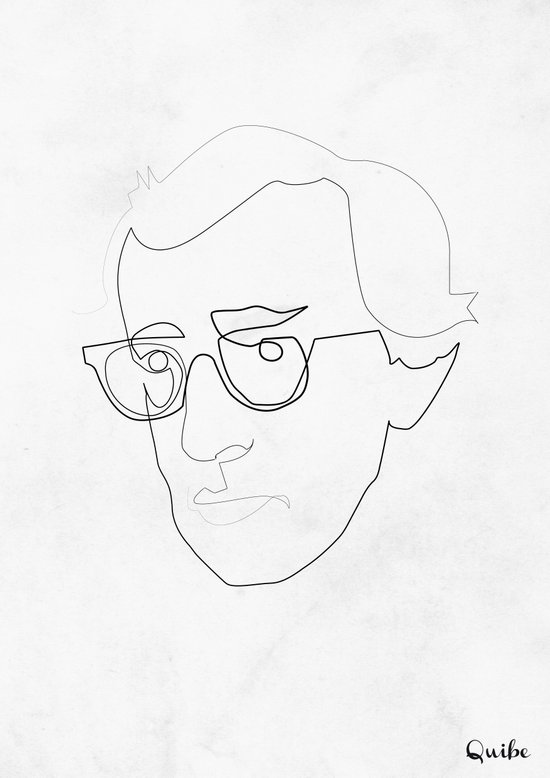 One Line Woody Allen Canvas Print