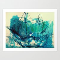 ship Art Prints featuring Ship by Hilary Dow