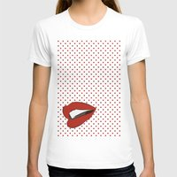 Pop Art Lips Womens Fitted Tee White SMALL