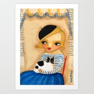 French Girl With Black A… Art Print