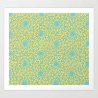 Geometric Vintage Blue/o… Art Print