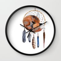 Fox Dreamcatcher Wall Clock