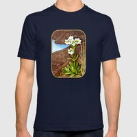 High Country Gentian Flower Mens Fitted Tee Navy SMALL