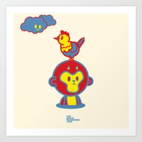 The Monkey And The Roost… Art Print