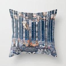 Owl Forest Winter Blue Throw Pillow