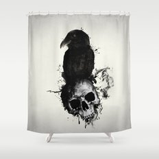 Raven and Skull Shower Curtain