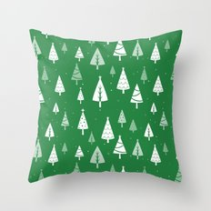 Christmas Tree Pattern (Green) Throw Pillow