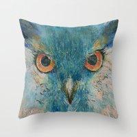 Turquoise Owl Throw Pillow