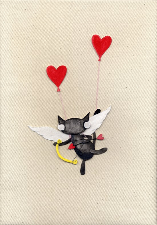 Zombie Kitty Plays Cupid Art Print