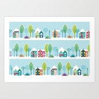 Ski House Art Print