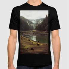 Foggy Forest Creek SMALL Black Mens Fitted Tee