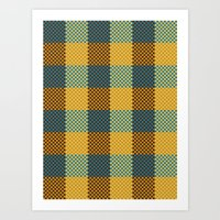 Pixel Plaid - Winter Walk Art Print