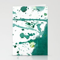 emerald green splash Stationery Cards