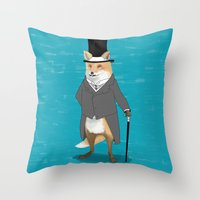 19th century fox Throw Pillow