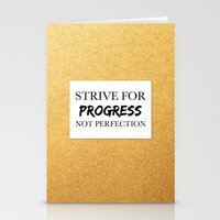 Strive for progress, not perfection Stationery Cards
