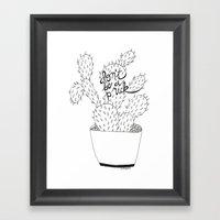 cactus in black Framed Art Print