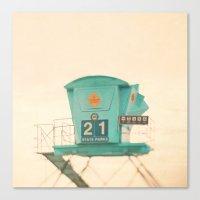 beach photograph, lifeguard stand. No. 21 Canvas Print