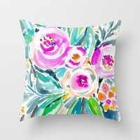 Pink Abundance Floral Throw Pillow