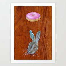 Doughnut & Rabbit Art Print