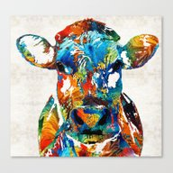 Colorful Cow Art - Mooto… Canvas Print