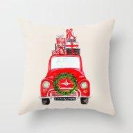 Red Christmas Car  Throw Pillow