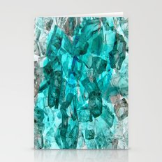 Turquoise Glass Chrystal Abstract Stationery Cards