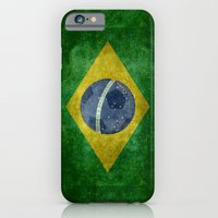 iPhone & iPod Case featuring Vintage Brazilian National flag featuring a football ( soccer ball ) by Bruce Stanfield