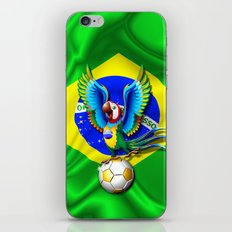 Brazil Macaw Parrot with Soccer Ball iPhone & iPod Skin