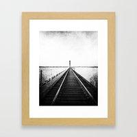 Rail Track through the Bay {Black and White} Framed Art Print