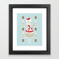 Merry Lady Christmas Cupcake Framed Art Print