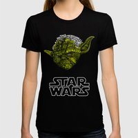 Yoda Womens Fitted Tee Black SMALL
