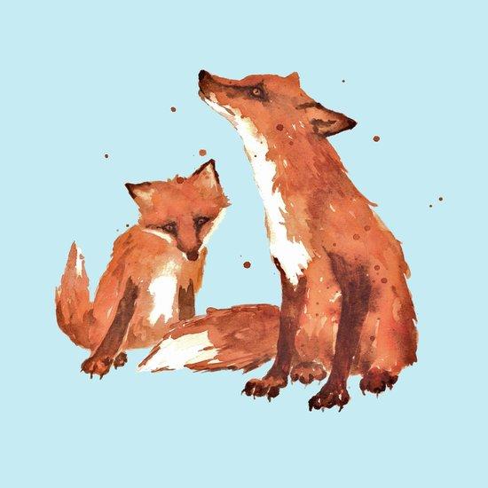 Blue Foxes, Cute fox art, nursery foxes, nursery decor, cool brother foxes, fox pillows Art Print