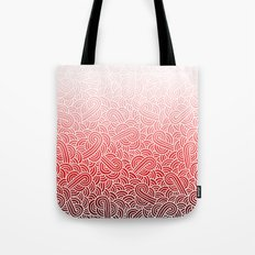 Ombre red and white swirls doodles Tote Bag