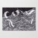 Sea Monster Black And White Art Canvas Print