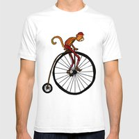 Penny Farthing Pete Mens Fitted Tee White SMALL