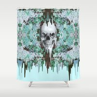 Seeing Color, melting floral skull in mint Shower Curtain