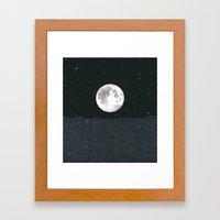 Grey Moonscape Framed Art Print