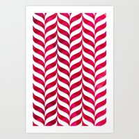 Red Leaf Herringbone Art Print