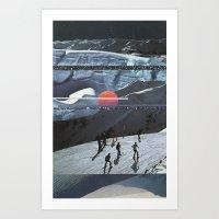 Night Skiing  Art Print