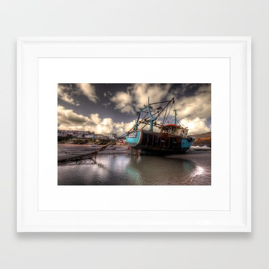 The Old Trawler at New Quay  Framed Art Print