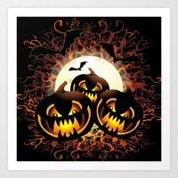 Black Pumpkins Halloween Night Art Print