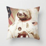 Sloth Astronaut Throw Pillow