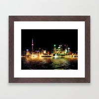 Toronto Skyline At Night From Polson St Reflection Framed Art Print