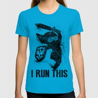 Link Boss Black Version Womens Fitted Tee Teal SMALL