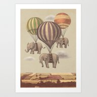 Art Print featuring Flight Of The Elephants  by Terry Fan