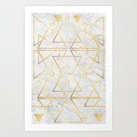 wire gOld triangle Art Print