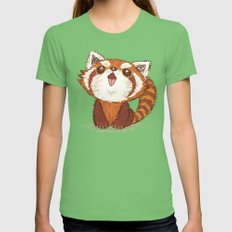 Red panda Womens Fitted Tee Grass SMALL