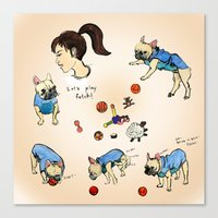 French Bulldog Playing W… Canvas Print