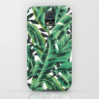 Galaxy S5 Cases featuring Tropical Glam Banana Leaf Print by Nikki