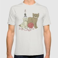 Naughty Cats Mens Fitted Tee Silver SMALL